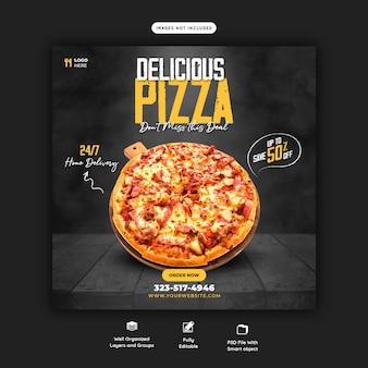 Voedselmenu en heerlijke pizza-sjabloon voor sociale media-banner Gratis Psd