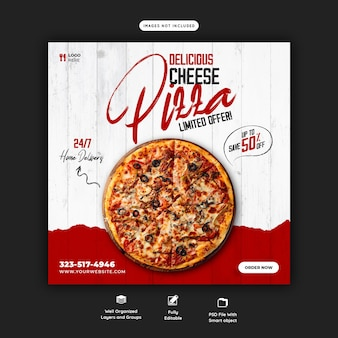 Voedselmenu en heerlijke pizza-sjabloon voor sociale media-banner
