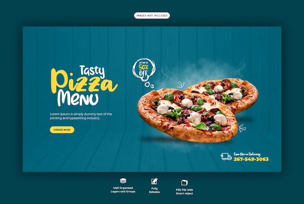 Voedselmenu en heerlijke pizza-sjabloon voor spandoek