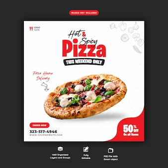 Voedselmenu en heerlijke pizza sociale media-sjabloon voor spandoek