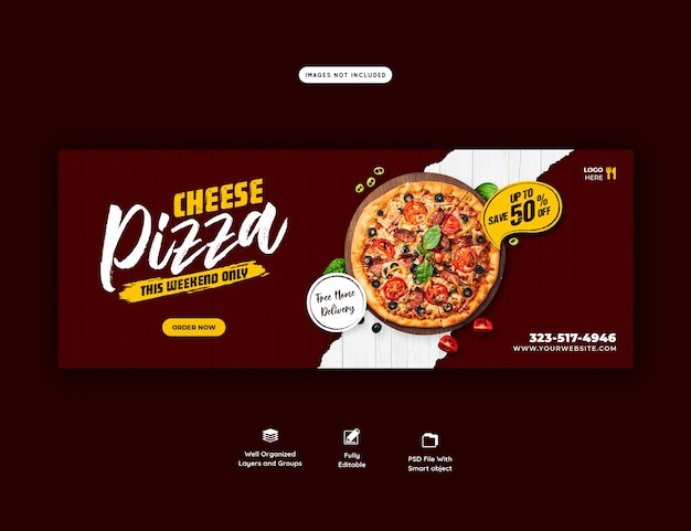 Voedselmenu en heerlijke pizza voorbladsjabloon voor spandoek