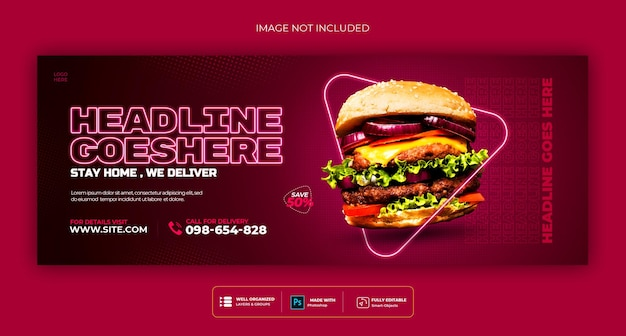 Voedselmenu en restaurant sociale media voorbladsjabloon