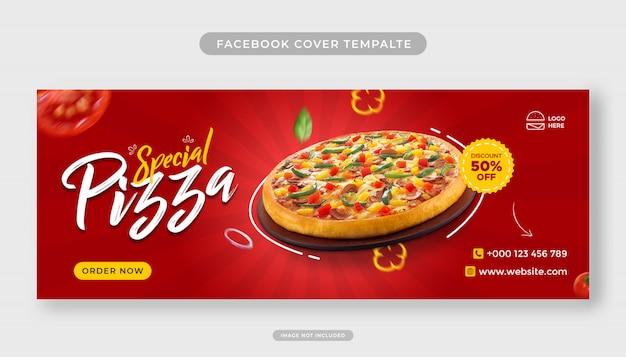 Voedselmenu en speciale pizza facebook omslagsjabloon voor spandoek