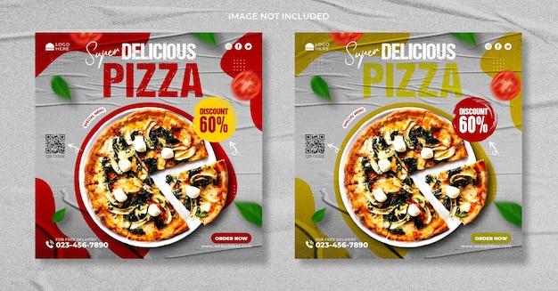 Voedselrestaurant voor promotiesjabloon voor pizzamenu's op sociale media