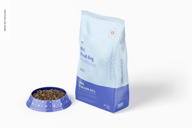 Voedselzak voor huisdieren met mockup voor voerbak