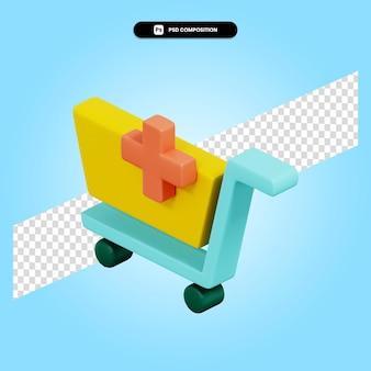 Voeg toe aan winkelwagen 3d render illustratie geïsoleerd