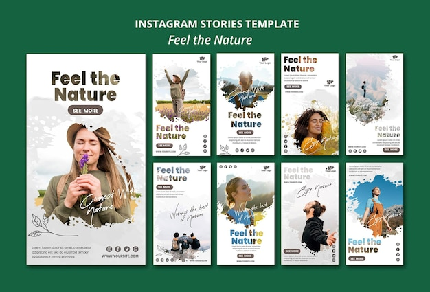 Voel de natuur instagram verhalen-sjabloon
