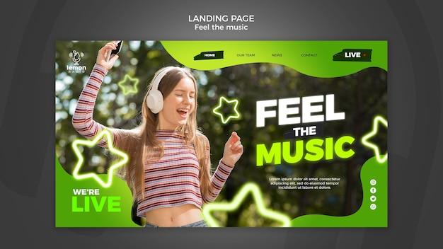 Voel de sjabloon voor de laning-pagina van het muziekconcept