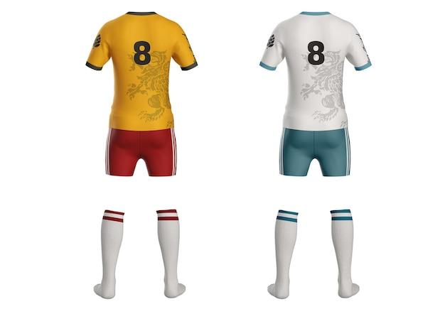 Voetbal kit t-shirt mockup achterkant