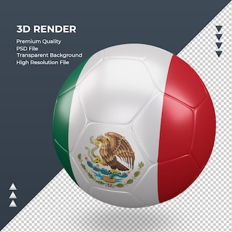 Voetbal mexico vlag realistische 3d-rendering juiste weergave