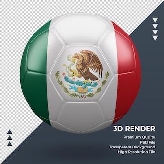Voetbal mexico vlag realistische 3d-rendering vooraanzicht