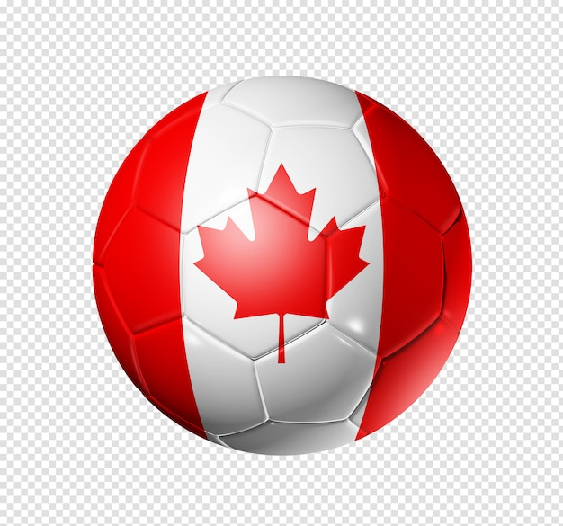 Voetbal voetbal met de vlag van canada