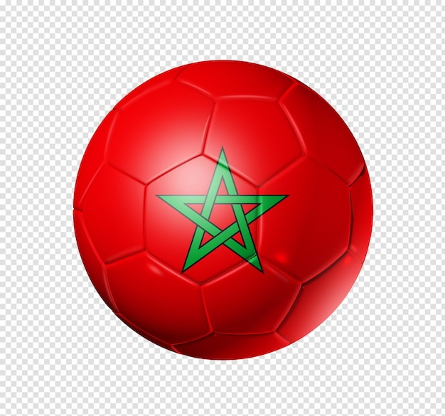 Voetbal voetbal met de vlag van marokko