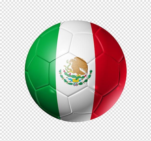 Voetbal voetbal met de vlag van mexico