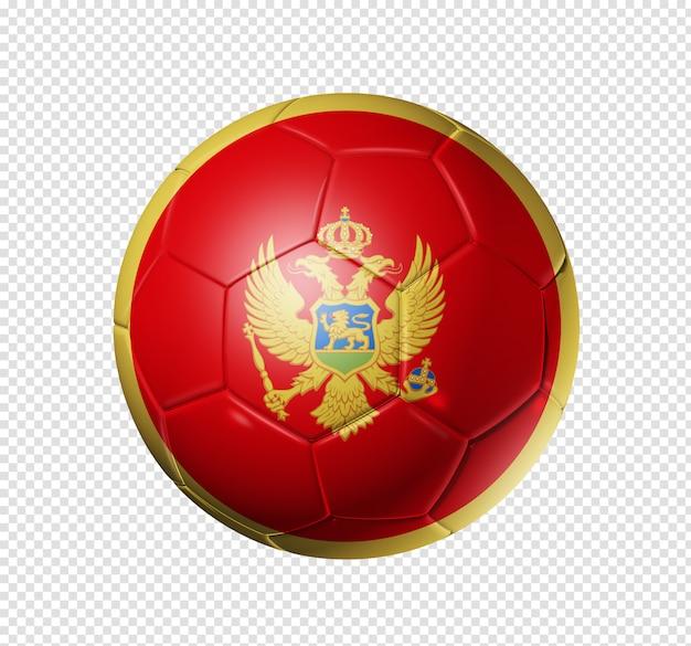 Voetbal voetbal met de vlag van montenegro