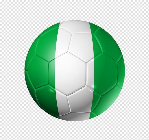 Voetbal voetbal met de vlag van nigeria