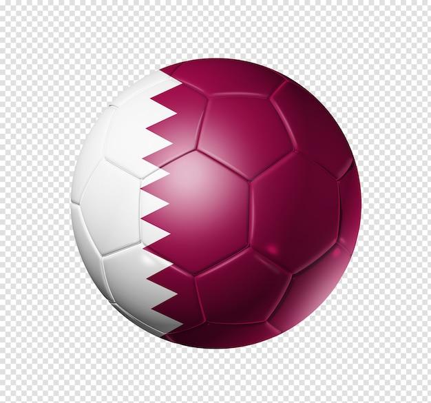 Voetbal voetbal met de vlag van qatar
