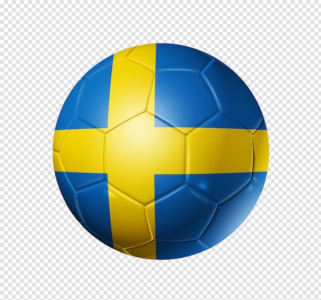 Voetbal voetbal met de vlag van zweden