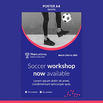 Voetbal workshop poster sjabloon