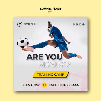 Voetbalclub trainingskamp flyer