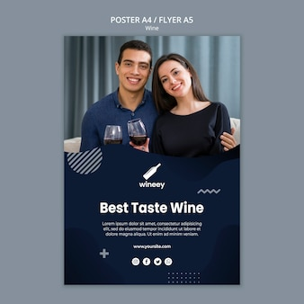 Volantino con coppia per azienda vinicola