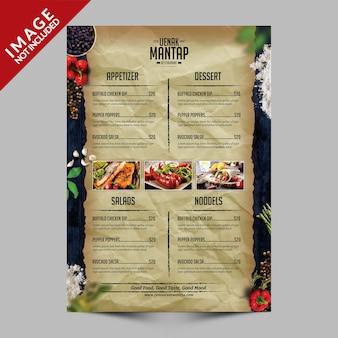 Volantino del menu cibo vintage