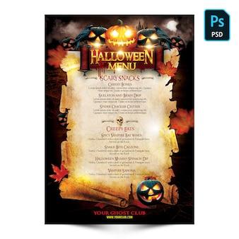 Volantino del menu di halloween