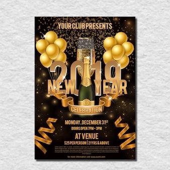 Volantino di celebrazione golden new year