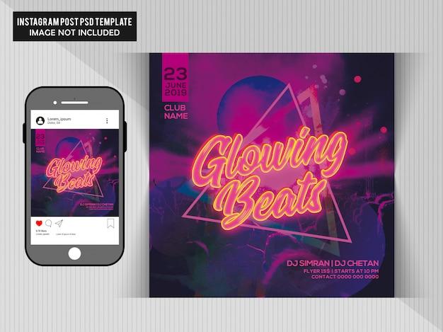 Volantino di partito glowing beats
