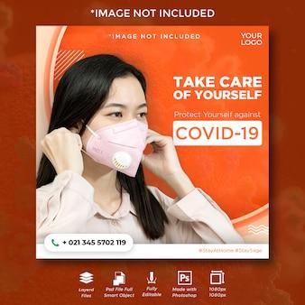 Volantino instagram dei social media virus corona per protezione e usura della maschera.
