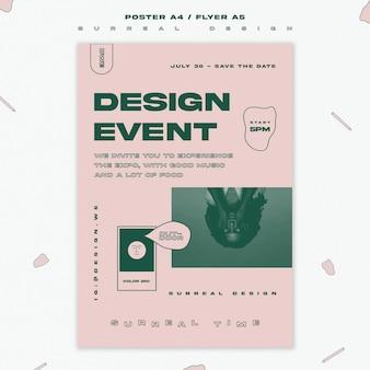 Volantino modello di evento di design surreale