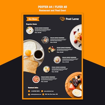Volantino moderno per ristorante per la colazione
