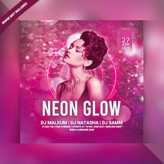 Volantino per feste neon glow