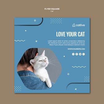 Volantino quadrato amante dei gatti