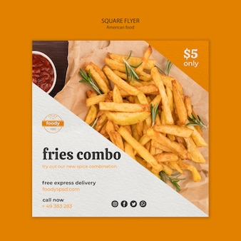 Volantino quadrato combinato fast food americano e patatine fritte