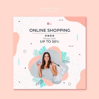Volantino quadrato dello shopping online