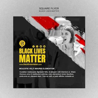 Volantino quadrato minimalista con vita nera e foto
