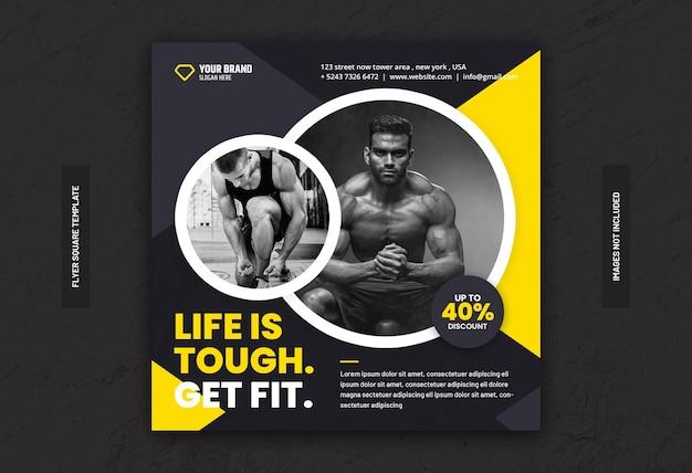 Volantino quadrato per banner social media allenamento fitness palestra
