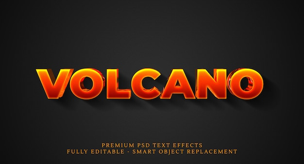 Volcano tekststijleffect psd, premium psd teksteffecten