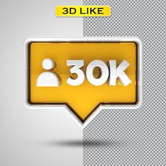 Volg 30k gouden 3d-rendering