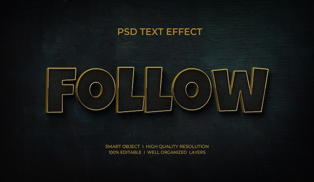 Volg 3d-gouden teksteffectsjabloon