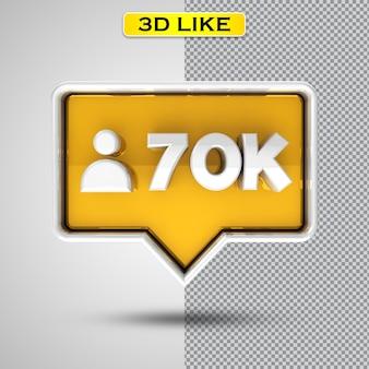 Volg 70k gouden 3d-rendering