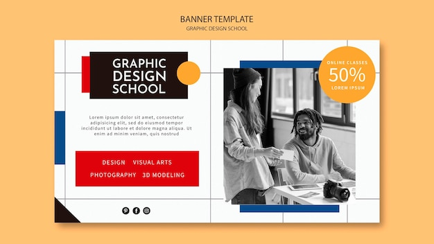Volg de sjabloon voor de cursusbanner voor grafisch ontwerp