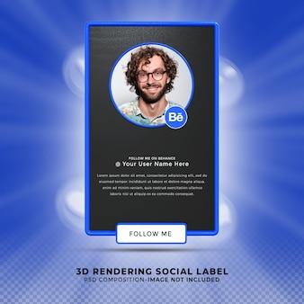 Volg mij op behanc sociale media onderste derde 3d-ontwerp render banner icon profile