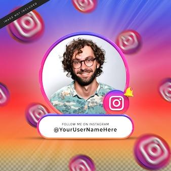 Volg mij op instagram sociale media onderste derde 3d-ontwerp render banner icon profile