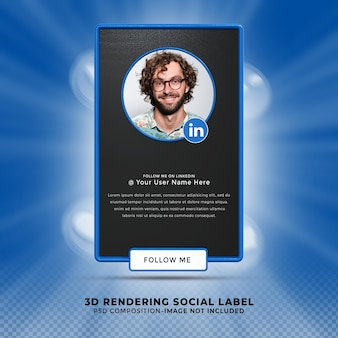 Volg mij op linkedin sociale media onderste derde 3d-ontwerp render banner icon profile