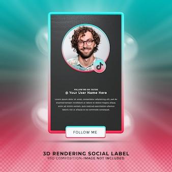 Volg mij op tiktok sociale media onderste derde 3d-ontwerp render banner icon profile