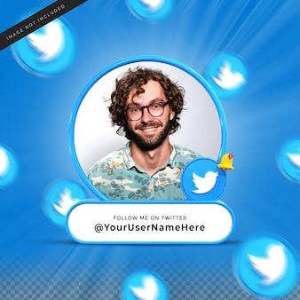 Volg mij op twitter sociale media onderste derde 3d-ontwerp render banner icon profile