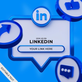 Volg ons op de vierkante banner van linkedin sociale media met 3d-logo en linkprofiel