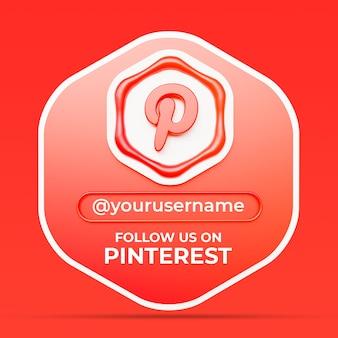Volg ons op pinterest sociale media profiel vierkante bannersjabloon